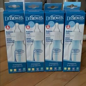 Four Brand New Dr. Browns 4oz. Baby Bottles